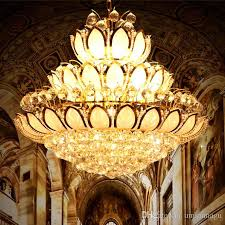 modern gold crystal chandeliers lights fixture european american lotus flower chandelier golden crystal droplight home indoor hotel lighting edison bulb