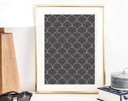 deco office. Art Deco Pattern Print | Wall Poster Decor Minimal Office