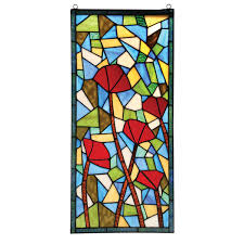 modern poppies stained glass panel