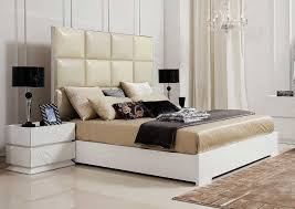 interior design of bedroom furniture. Awesome Modern White Bedroom Furniture With Wonderful Beige Leather Headboard Bed Design Ideas And Beautiful Interior Of F