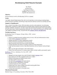Bookkeeper Resume With No Expereience Bookkeeping Clerk Resume