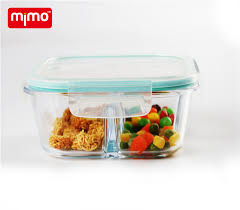 borosilicate glass food container with air vent lid 3 compartments