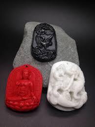 3 pendants 100 hetian black jade crane white jade dragon and red cinnabar buddha