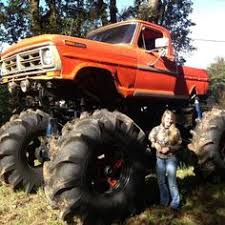 ford trucks mudding lifted. Simple Mudding Giant Orange Color Vintage Ford Monster Mudder Truck Mudding  For Trucks Lifted O