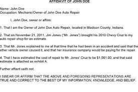sample affidavit affidavit of john doe