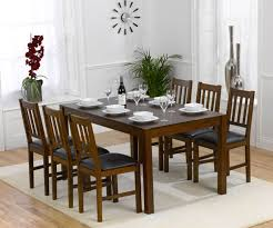 mark harris marbella solid dark oak dining table with 6 chair