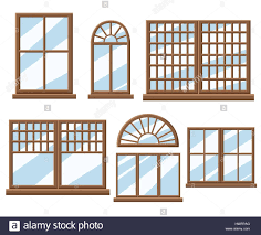 Window Icon Set Flat Design Style Vector Illustration Stock Vector