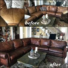 leather dye for furniture faded and stained aniline leather sectional red with an antiqued effect using