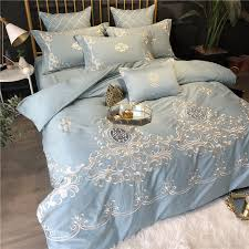 details about embroidered bedding set 7 pcs luxury cotton duvet cover flat sheet pillowcases