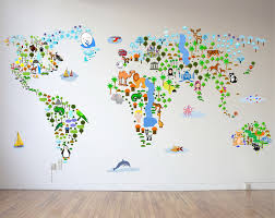 wall decal awesome world map wall decal for kids large