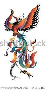 Stock Vektory Na Téma Hand Drawn Colorful Phoenix Tattoo Fire Bird