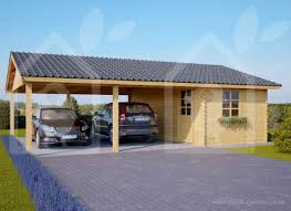 two car wooden carport with a storage cabin 6m x 7 5m