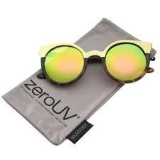 zerouv women s metallic trim frame colored mirror round cat eye sunglasses 49m