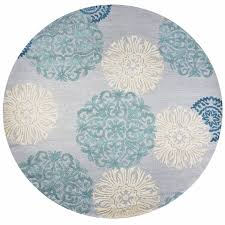 dimensions new zealand wool round area rug 10 ft blue grey ivory white medallion