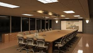 Home Decor, Large Conference Room For Modern Office With Cool Ceiling Lamp  With Regard To
