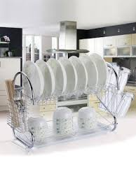 dish drying rack two layer stainless steel utensil holder with drain board