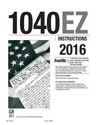 2016 form 1040ez instructions pdf