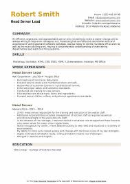 Resume For Servers Head Server Resume Samples Qwikresume