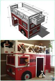 diy fire truck bed playhouse instructions diy kids bunk bed free plans