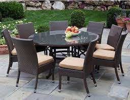 wicker patio furniture with glass round