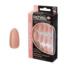 Royal Broskvové Matné Nalepovací Umělé Nehty 24ks S Lepidlem 3g Perfect Peach Almond