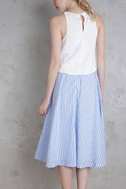 Light Blue Striped Skirt Keaton Midi Skirt Light Blue Stripes Shopperboard