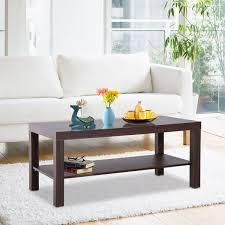 homcom minimal wood coffee table