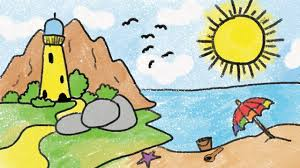 Easy landscape drawing for kids and beginners learn house and nature simple painting how to draw an easy landscape for kids. Simple Beach Drawing For Kid Youtube