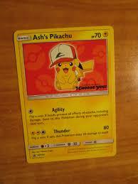 NM Pokemon ASH'S PIKACHU Card BLACK STAR PROMO Set SM109 I CHOOSE YOU The  Movie
