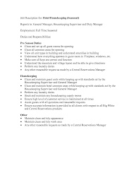 Housekeeping Duties Resume Endearing Housekeeping Responsibilities Resume On Housekeeping 8