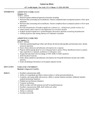 Admitting Clerk Resume Samples Velvet Jobs