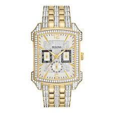 men s bulova crystal accent gold tone watch rectangle white men s bulova crystal accent gold tone watch rectangle white dial model 98c109 bulova zales