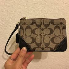 Coach Dark Brown Tan Leather Monogram Wristlet