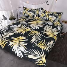 palm tree bedding modern black white gold duvet cover elegant and chic tropical bedspread for girls women duvet cover set queen blue and white bedspread