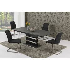 alessandro black stone effect extending dining table 160 220