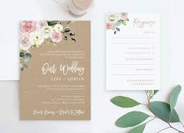 Rustic Floral Wedding Invitations And Rsvp Card Diy Invite Kit Printable Online Pdf Invites Editable Templates Boho Blush Cheap Packages