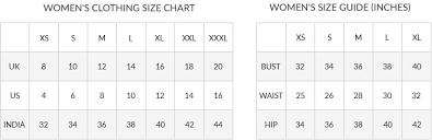 Indian Clothing Size Chart Gagan Oberoi