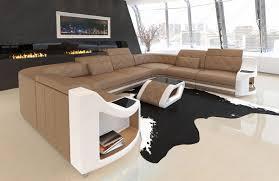 Details About Leder Sofa Wohnlandschaft Luxus Couch Genua U Form Chesterfield Design Sandbeige