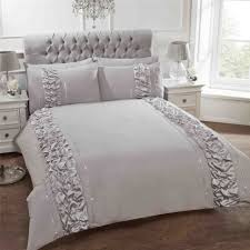 ruched vertical bands sequins grey cotton blend single duvet cover