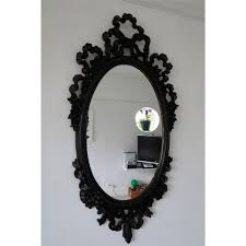 vintage black victorian style plastic oval shabby chic wall mirror