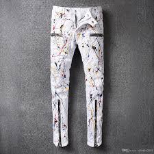 2018 2017 New Hi Q World Famous Designer Brand Paint Splatter Stylish  Zippers Design Men Classic Slim Casual Denim Pants Cowboy Moto Biker Jeans  From ...