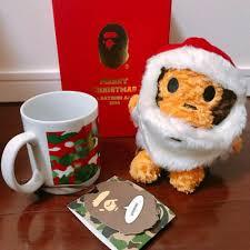 details about a bathing ape bape xmas baby milo doll mug set limited item stuffed toy mug