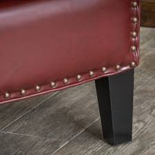 austin oxblood red bonded leather club chair by christopher knight home free today 13692261