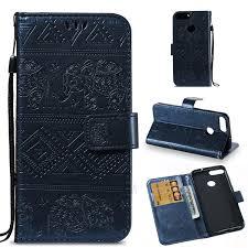 imprint elephant leather wallet shell case for huawei p smart enjoy 7s dark blue