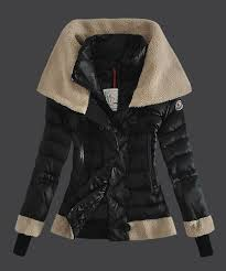 Moncler Women Down Jacket Double Stand Collar Black Online buy