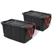 Rolling Storage Bin with <b>Handle</b> 40 gal Box Set of <b>2 Portable</b> ...