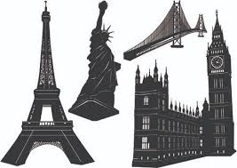 famous architectural buildings black and white. Perfect Architectural Famous Architectural Buildings Black And White Silhouettes  Free Vector Download 6816 Inside S