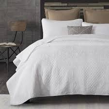 chausub white embroidery quilt set 3pcs washed cotton quilts soft quilted bedspread bed cover coverlet king white coverlet king r20