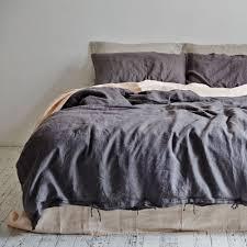 image of duvet cover linen dark gray