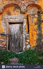 beautiful old door in ano kardamyla also known as palio chorio old village chios island greece
